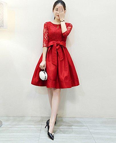 大人 かわいい 刺繍 レース 切り替え リボン ワンピース ドレス 結婚式 パーティー 黒 赤 (M, レッド)