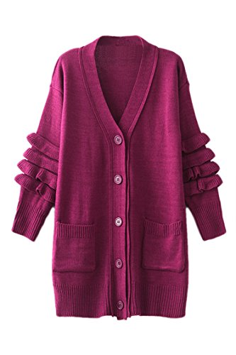 Pink Wind Womens Belted Pocket Sweaters Button Front Solid Color Cardigan