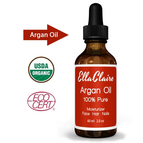 Virgin Argan Oil - Facial Moisturizer - 100% Pure Moroccan Argan Oil for Hair, Best Anti-aging Moisturizer - Hair Treatment Oil Repairs Hair, Restores Shine - Argan Oil Organic Certification By Ecocert and USDA - Natural Skin Care Product for Men and Women - Beard Oil - Cutical Softener, Nail Strengthener - 2 Oz Bottle - Satisfaction Guaranteed