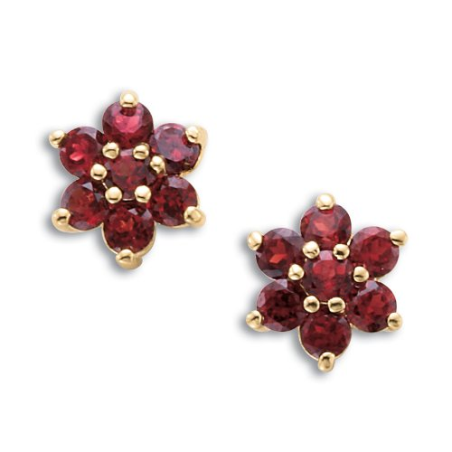 Genuine Garnet Flower Cluster Earrings