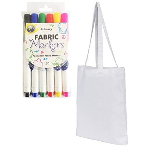 10 Pack White Cotton Tote Shopper Bags with Free Fabric Pens!
