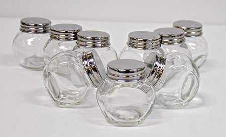 cheap package of 9 small glass favor jars with lidsvictoria lynn discount party favors in. Black Bedroom Furniture Sets. Home Design Ideas