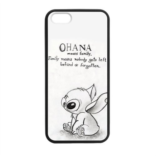 Hot Selling Funny Cute Ohana & Classic Family Quote Phone Case For Apple Iphone 5 5S Best Durable Hard Plastic Case - White front-47761