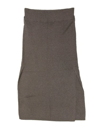 Allude womens cashmere side slit mid calf skirt