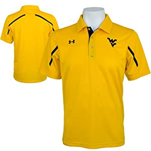 West Virginia Mountaineers Mens Under Armour Polo in Gold-Navy by Under Armour