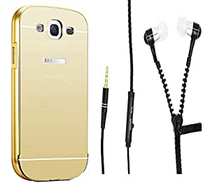 Novo Style Back Cover Case with Bumper Frame Case for Samsung Galaxy On5  Golden + Zipper Earphones/Hands free With Mic 3.5mm jack