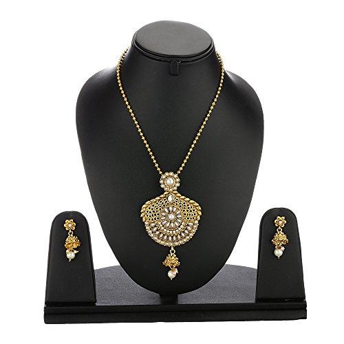 zeneme precious designer kundan pendant set with chain and