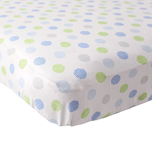 Luvable Friends Fitted Knit Cotton Crib Sheet Crosshatch Dot, Blue