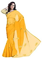 GiftPiper Pure Chiffon Aari Work Saree- Yellow