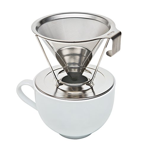 Pour Over Coffee Maker Stainless Steel : Reusable Pour Over Coffee Filter with Upgraded Cup Stand, Handle, and Stainless Steel - Portable ...