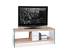 FREIBURG TV-Rack Sonoma dekor, Klarglas, Schubladen weiß