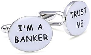 """Teroon - 609003 - Boutons de manchette fantaisie Mixte - """"Trust me, I'm a banker"""" - Laiton"""