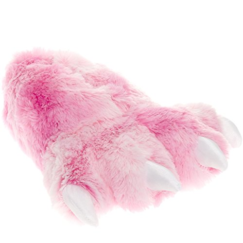[Wishpets Grizzly Bear Paw Animal Slippers w/ White Toes (Pink, M - Kids/Adult)] (Youre Next Costume)