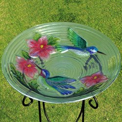 Evergreen 2GB034 Glass Bird Bath, Hummingbird