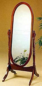 Traditional Style Oval Solid Wood Cheval Standing Floor Mirror In Solid Cherry Wood Finish. (Item# Vista Furniture CF3101)