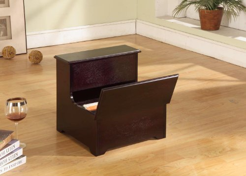 Kings Brand Cherry Finish Wood Bedroom Bed Storage Step Stool