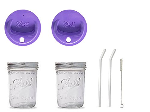 2 Mason Pint Drinking Jars with 2 Vintage Glass Bent Straws 8 inch x 9.5mm, 2 Purple Wide Mouth Sip Lids and 1 Cleaner (2, purple lids)