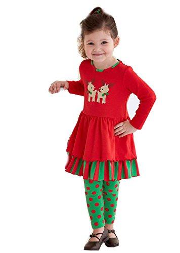 Girls Reindeer Dress And Green/Red Polka Dot Legging Set (4T)