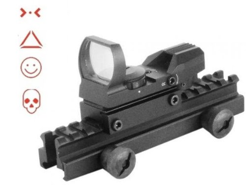 "Global Sportsman Qd Tactical 1"" Weaver-Picatinny High See Thru Stanag Riser Mount For Ar15 M4 Flattop Rifle Scope + Cqb 4 Multi Reticle Red Combat Specialist Edition Open Reflex Sight With Weaver-Picatinny Rail Mount - Combo Combination Package Kit Set Fi"