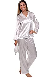 Del Rossa Women\'s Satin Pajamas, Long Button-Down Pj Set and Mask, Large Pearl White (A0750CRMLG)