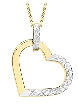 Carissima 9ct 2 Colour Gold Diamond Cut Heart Pendant on Chain Necklace 46cm/18""