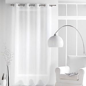 Douceur d'Intérieur 1622554 - Visillo con anillas integradas (140 x 240 cm, poliéster), color blanco