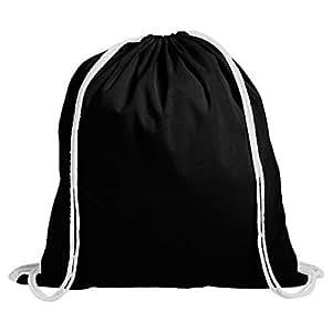 10 Cotton Childrens Drawstring Rucksack - Gym, Swim, Sports, PE, Book Bag (Black)