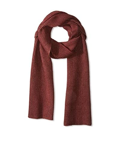 Portolano Men's Merino All Over Stripes Knit Scarf, Sable Brown/Maroon