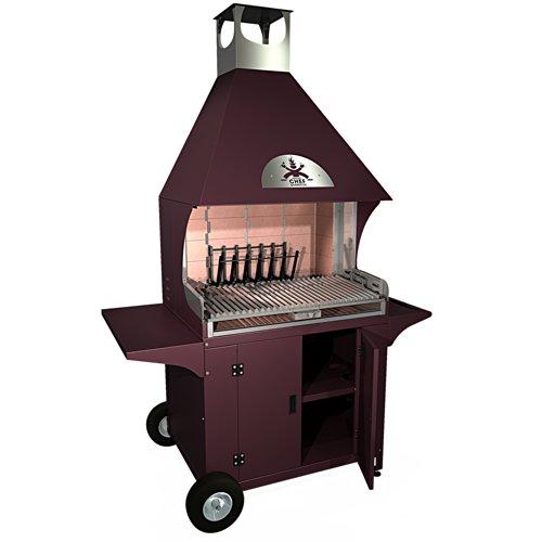 MasterChef Barbecue FRED FULL RED - Barbecue caminetto per esterni e giardino realizzato in zinco-magnesio e acciaio inox aisi 304 (rosso)