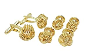 Gold knot Cufflinks and Studs Set Unique Set by Men's Collections (cs8)
