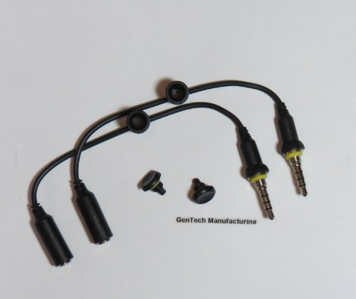 2 Gentech Generic Replacement Headphone Wires With 2 Black Cover / Screws For Iphone 4 / 4S Lifeproof Cases