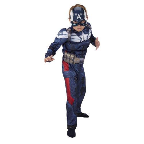 [Disney Marvel Captain America Avengers Deluxe Costume Size 4-6x] (Avengers 2 Captain America Costumes)