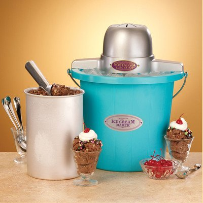 Nostalgia Electrics Icmp400Blue 4-Quart Electric Ice Cream Maker