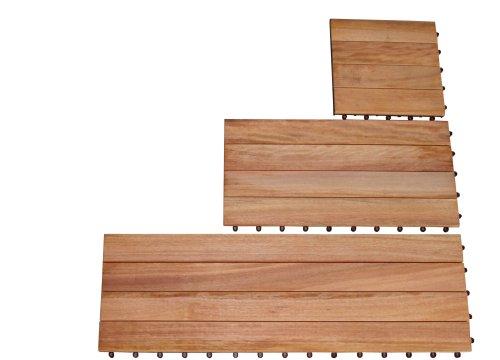 VIFAH 358 FSC Eucalyptus Plank Deck Tiles, Box of 20 Sq Ft