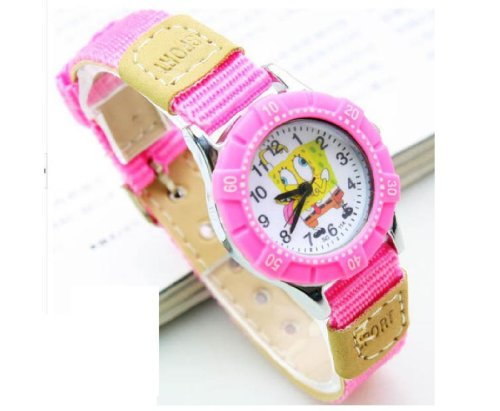 Lovely quartz SpongeBob SquarePants children cartoon Watches Textile Watch Band WP@TGZ151610P