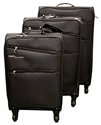 Super Traveller Super Light Set of 3, 4 Wheel Luggage Set - Black