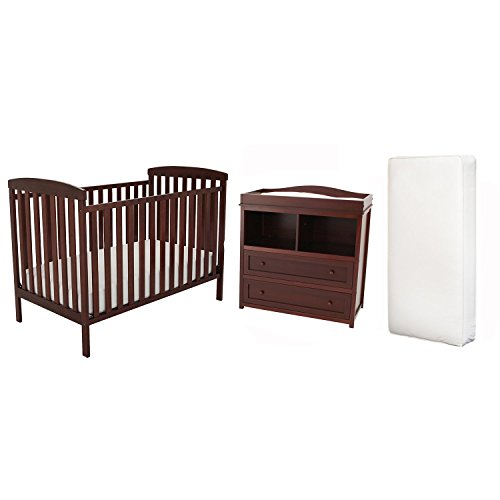 Afg Langley Crib, Changer Set And Deluxe Mattress - Espresso