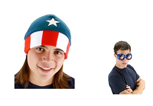 Unique Captain America Costume Set of Licensed Cool Beanie and Goggles Too