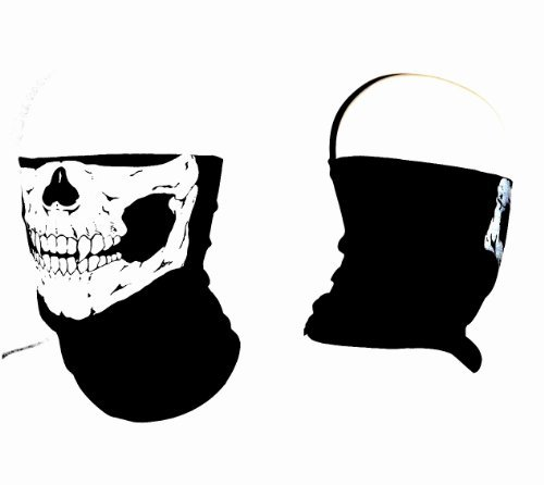 1 Motorcycle Biker Cycling Face Mask Neck Warmer Scarf Doo Rag Durag Bandana ~ Wear Them With Skull Or Upside Down With Solid Black