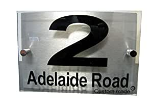 House Number Sign/Plaque Brushed Aluminium & Acrylic--Custom made