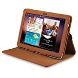 SAMSUNG GALAXY TAB 10.1 P7510 (GALAXY TAB 2) PU LEATHER FLIP CASE / COVER / POUCH / HOLSTER - TAN PART OF THE QUBITS ACCESSORIES RANGEby Qubits