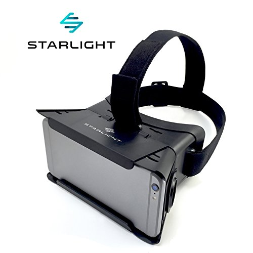 """Starlight Virtual Reality VR Headset: 3D Adjustable Goggle Glasses for 3.35"""" - 6.5"""" iPhone or Android Smartphones and Google Cardboard Mobile VR Apps; Focal and Pupil Distance Adjustment, AR or VR use"""