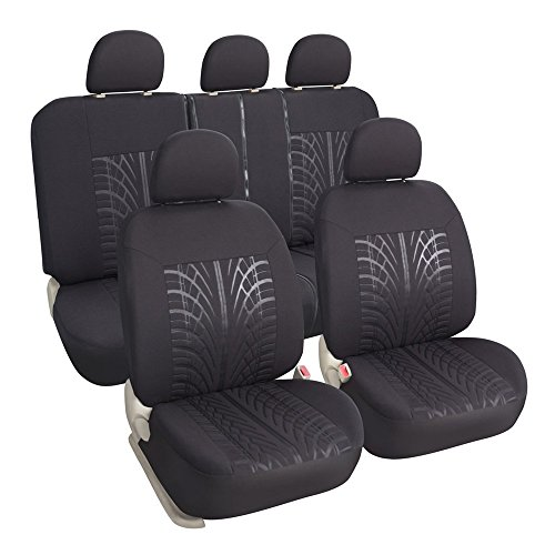 Leader Accessories Poly Cloth Black Auto Car Seat Cover Set - Airbag Compatible - Front Low Back Buckets - 50/50 or 60/40 Rear Split Bench (60 40 Bucket Seat Covers compare prices)