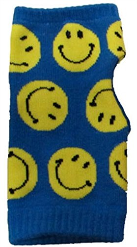 Smiley Face Fingerless Hand Warmers Knit Gloves Mittens Thumb Hole