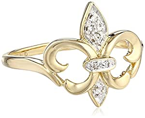 14k Yellow Gold Fleur-de-Lis Diamond Ring (.03 ct, I-J Color, I2-I3 Clarity), Size 6