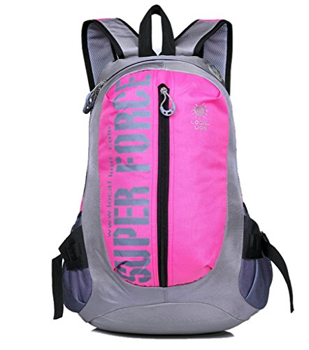 Zerd Outdoor Waterproof Nylon Mountaineering Camping Travel Backpack Trekking Bag 25L Pink front-264197