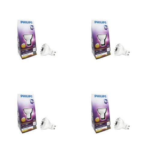Philips 6-Watt (50W) Mr16 Gu10 3000K (Bright White) Led Flood Light Bulb- (4 Pack)