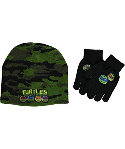 "Teenage Mutant Ninja Turtles ""Faces Patch"" Beanie & Gloves Set - green, one size"