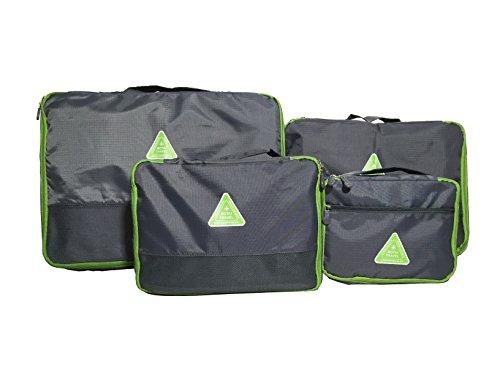 DoubleVillages 4Pcs Organizer per valigie / Cubi Di Imballaggio Viaggi Organizzatore / Impemeabile Borsa da Toilette/ Borsetta da Viaggio/ Organizzatore Portatrucchi / Impemeabile Borsa da Toilette / Borsetta da Viaggio -Gray