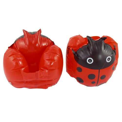 Pair Kids Beach Ladybug Print Inflatable Float Swimming Arm Bands Red Black front-855418